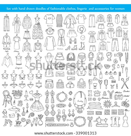 Vector set with hand drawn doodles of fashionable clothes, lingerie and accessories for women on white background. Illustrations on the theme of fashion. Sketches for use in design