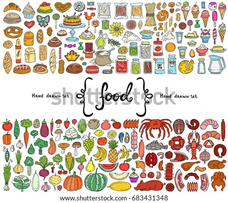 Vector set with hand drawn isolated colored doodles on the  theme of food. Illustrations of fruits, vegetables, dairy products, sausages, cakes, bread, fish. Sketches for use in design