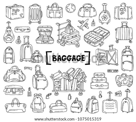 Vector set with hand drawn isolated doodles on the theme of baggage on white color. Sketches for use in design