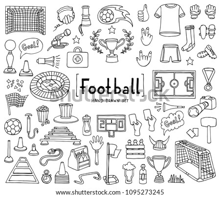 Vector Set With Hand Drawn Isolated Doodles On The Theme Of Football Soccer White