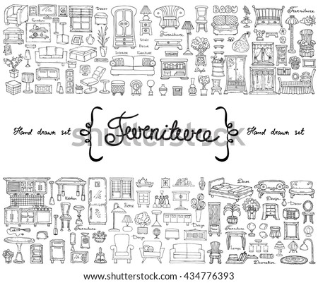 Vector set with hand drawn isolated doodles on the  theme of furniture. Flat illustrations of objects for decoration and interior. Sketches for use in design #434776393