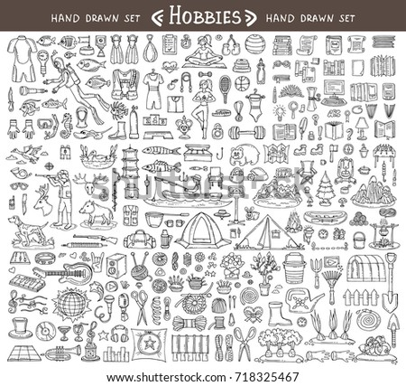 Vector set with hand drawn isolated doodles on the  theme of hobbies. Diving, sports, reading, hunting, fishing, hiking, music, needlework, gardening. Sketches for use in design
