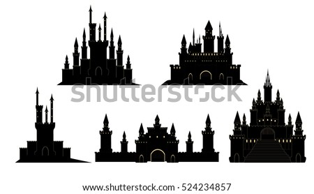 Vector set with hand drawn medieval castles on white background