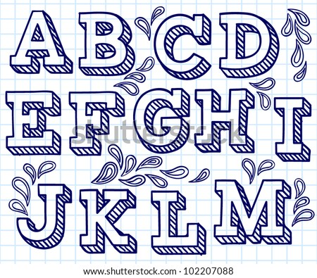 Vector set with hand written ABC letters