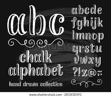 Vector set with hand written ABC letters and typography elements on black background. Chalk design