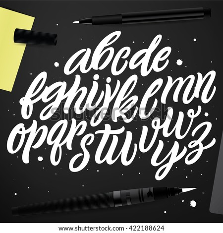 Vector set with hand written ABC letters isolated on black background. Calligraphy collection.Typography font for your designs: logo, for poster, banner, card. Cursive  characters.