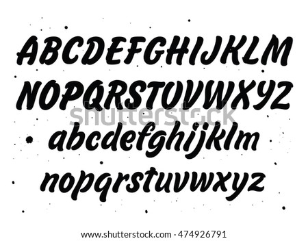 Vector set with hand written ABC letters isolated on white background.