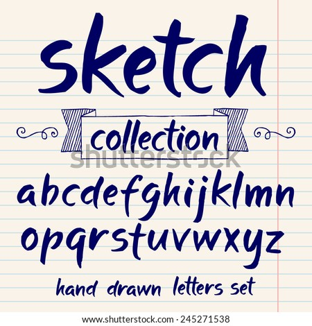 Vector set with hand written ABC letters Sketch collection