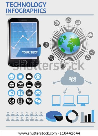 Vector set with infographics elements - mobile technology and icons