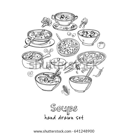 Vector set with international soups hand drawn doodles. Illustration for menus, recipes and packages product