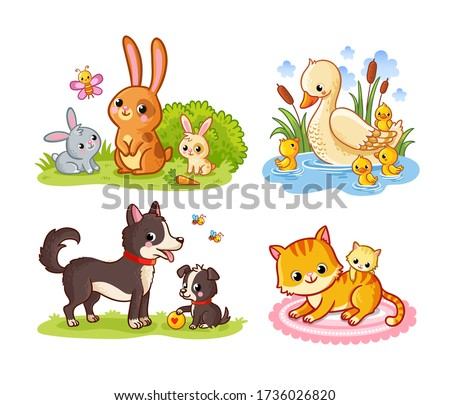 Vector set with mom and baby pets cartoon style. Collection of cute forest mammals on a white background.