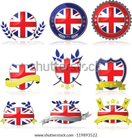 Vector set with nine different badges for the United Kingdom