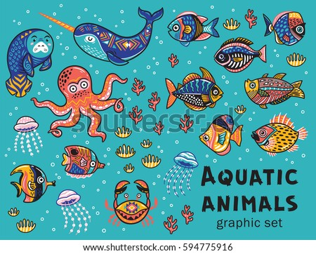 vector set with octopus  seal