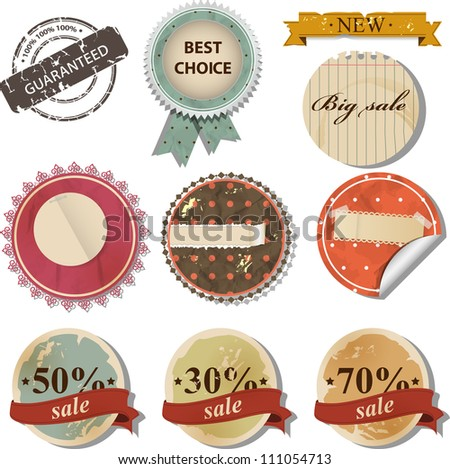 Vector set with retro sale labels