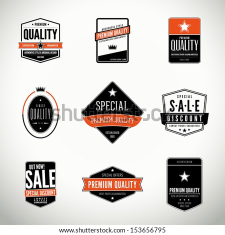 Vector set with seals, stamps, labels or badges