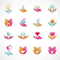 Vector set with signs of love and care - collection with  icons for abstract logo