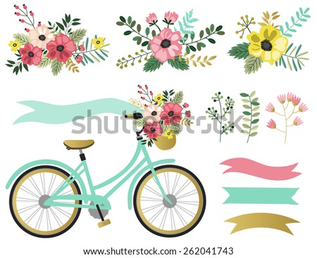 vector set with spring flowers