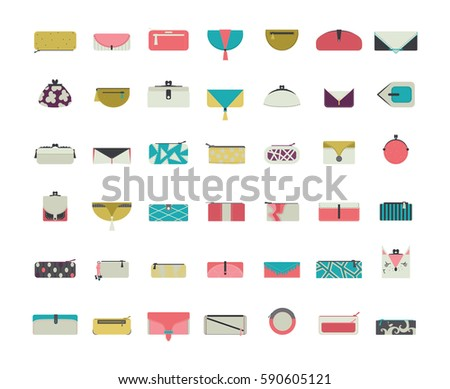 Vector set with stylish vogue purses and clutches for women in simple flat style. Design collection in different decoration styles in bright colors. Blue, green and pink pouches and wallets icons Foto stock ©