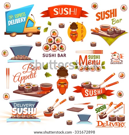 Vector set with sushi banners, icons, logo and illustrations.