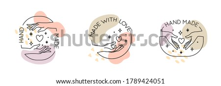 Vector set with trendy hand made labels and badges in linear modern style. Collection of emblems with gestures - hand made, made with love, donate concept Photo stock ©