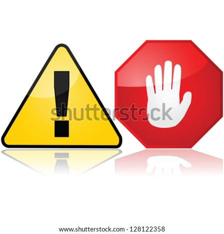 Vector set with two different warning signs, one showing an exclamation mark and another an open hand - stock vector