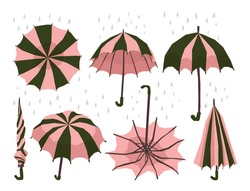 Vector Set with Umbrellas from different Sides on Background of Raindrops. Concept Rainy Weather, Protection from Rain, Wind, Umbrella. You can use separate Elements for Banner, etc. Horizontal format