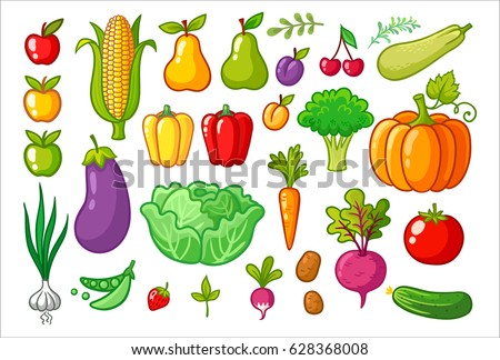 Vector set with vegetables. A collection of vegetarian food. Fruits and vegetables. #628368008