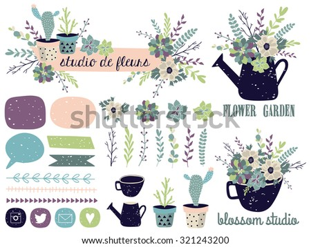 vector set with vintage flowers....