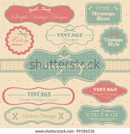 vector set with vintage labels