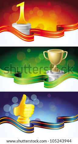 vector set with winner banners - with golden prizes