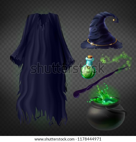 vector set with witch costume