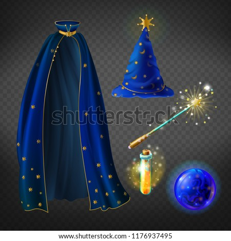 Vector set with wizard costume for Halloween party and magical accessories isolated on background. Blue mage mantle and hat, glass ball for predictions, flask with potion, magic wand for spells