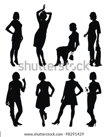 vector set with young women