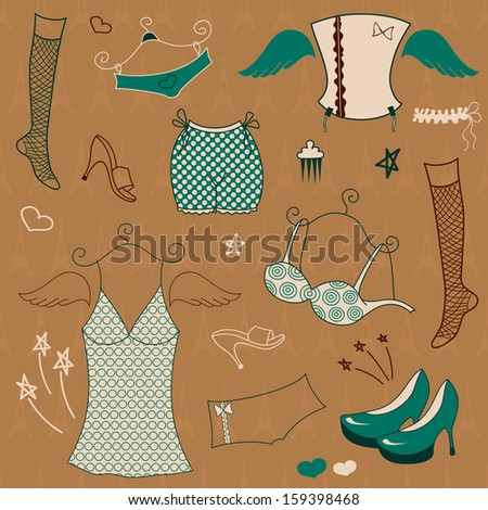 vector set  woman fashion
