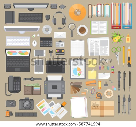 Vector set. Workspace businessman. Items on the desktop. Top view. Computer hardware and gadgets. Stationery. Paper and desktop objects. View from above.