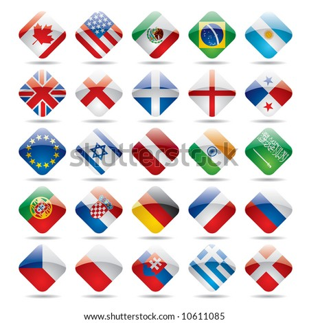 Vector set world flag icons 1 - stock vector