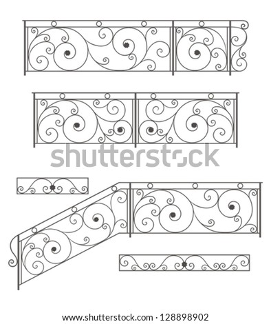 vector set  wrought iron stairs