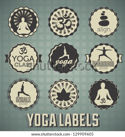 Vector Set: Yoga Labels and Icons - stock vector