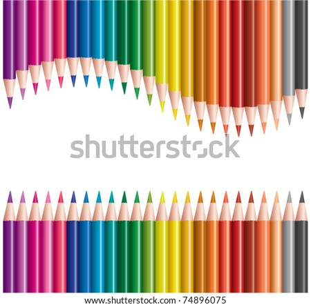 vector sets of colored pencils in rows