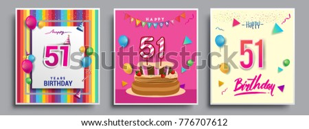 Vector Sets Of 51 Years Birthday Invitation Greeting Card Design With Confetti And Balloons
