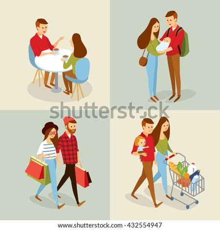 vector sets with people going for shopping, family with baby, couple in cafe