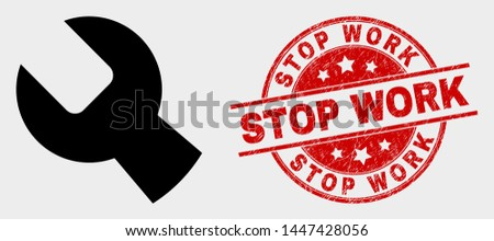 Vector setup tools icon and Stop Work watermark. Red rounded distress watermark with Stop Work caption. Vector combination for setup tools in flat style. Black isolated setup tools icon.