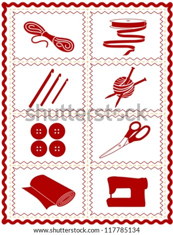 vector – Sewing, Craft Tools for knit, crochet, tailoring, fashion, quilting, do it yourself hobbies: needles, hooks, yarn, buttons, scissors, machine, ribbon, cloth, red  rick rack frame. EPS8.