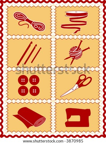 vector – Sewing, Craft Tools for knit, crochet, tailoring, fashion, quilting, do it yourself hobbies: needles, hooks, yarn, buttons, scissors, machine, ribbon, cloth, red, gold rick rack frame. EPS8.