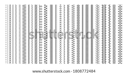 Vector sewing machine stitches. Seamless sewing seam lines pattern for fabric structure. Embroidery cloth edge texture. Stitching seams, stitched sew isolated on white background.  Fashion seam brush Сток-фото ©
