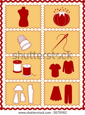 vector – Sewing, Tailoring Tools for dressmaking, textile arts, do it yourself crafts, hobbies, fashion model, pincushion, thimble, needle, thread, clothes patterns, red, gold rick rack frame. EPS8.