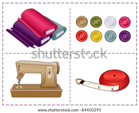 vector - Sewing Tools, Sewing machine, tape measure, bolts of fabric, buttons in Pantone fashion colors, for tailoring, dressmaking, do it yourself handmade crafts, hobbies. Stitch frame border. EPS8.