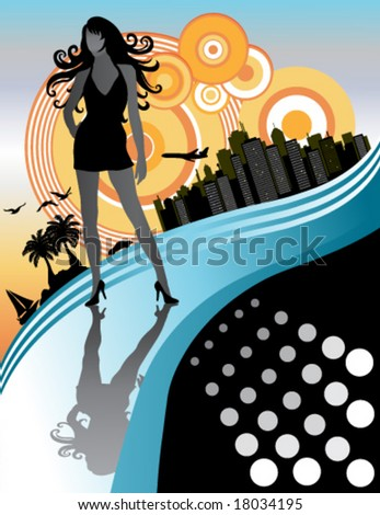 Vector Sexy long hair woman, city in background. Colors: black, white, blue, orange.
