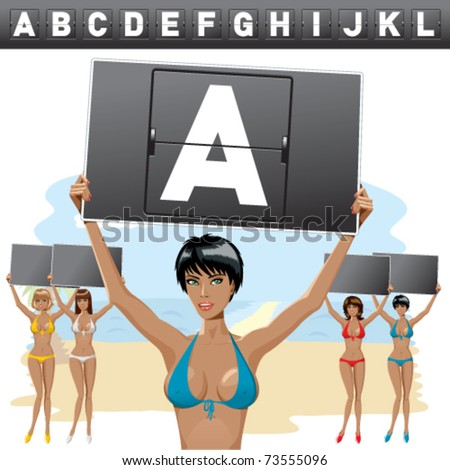 vector sexy woman with mechanical scoreboard letters