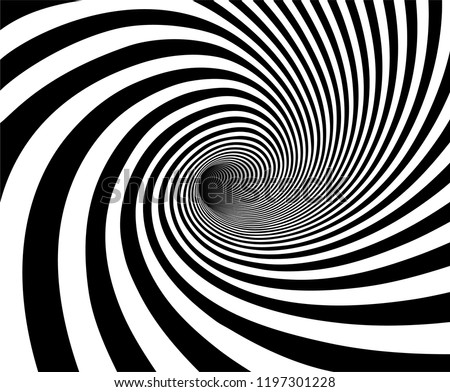 Vector shaded 3D illustration of tunnel vortex view with geometrical hypnotic black and white flowing inside a hole.